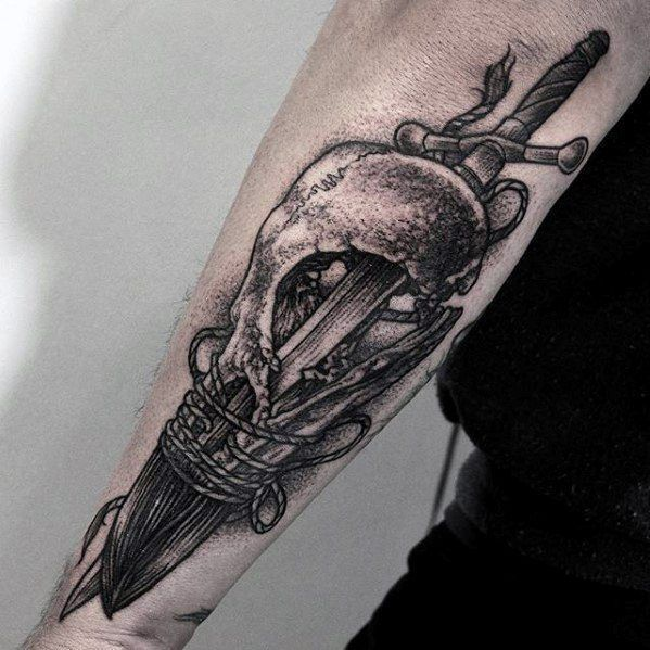 Cool Animal Skull Sword Unique Forearm Tattoos For Men Forearm Tattoo Men Tattoos For Guys Sword Tattoo
