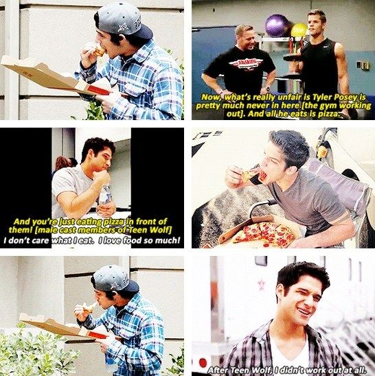 """""""I eat whatever I want. I'm 21-years-old, I can still get away with it. There are some strict regiment eatings, but I don't follow them. I don't abide. Tyler Hoechlin does, the new twin alphas do, Sinqua, who plays Boyd, and Daniel Sharman do."""" - Tyler Posey."""
