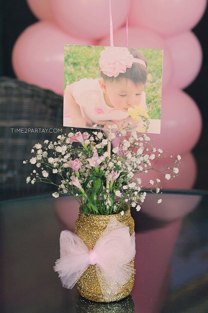 Floral, Glitter Jar Centerpiece from a Pink & Gold Princess Party via Kara's Party Ideas | http://KarasPartyIdeas.com | The Place for All Things Party! (15)