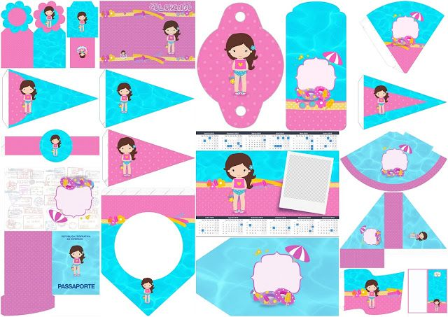 Brunette Girl Pool Party: Free Party Printables.