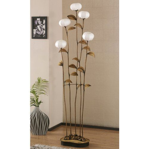 Grande lampe salon sensitive 5 branches sur pied papier - Lampe decorative salon ...