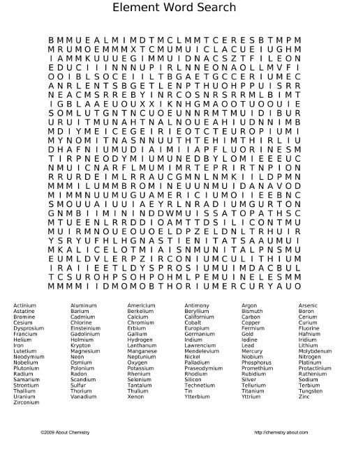 Very Hard Word Searches Printable | Find the elements of the periodic table by searching vertically ...
