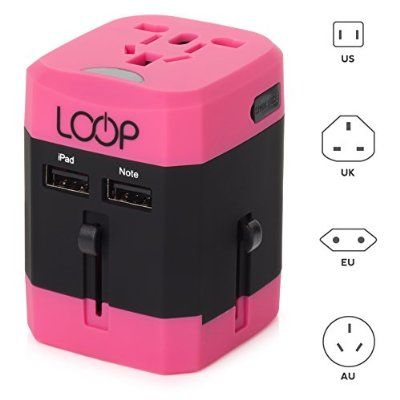 LOOP World Adapter Plug, Worldwide Travel Adapter Charger [US UK EU AU CN] w/ Dual USB Charging Ports & Universal AC Socket - Safety Fused (Pink)