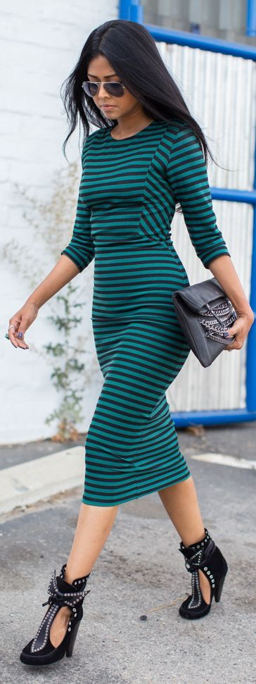 Zara Green And Black Stripe Body-con Midi Dress by Walk In Wanderland