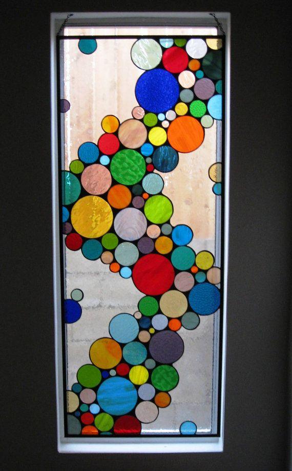 """Contemporáneo vidrieras colgante Panel / """"Onda color"""" (W-10)"""
