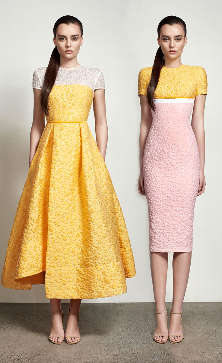 Alex Perry Spring Summer 2016 - Goldie Lace Contrast Midi Dress and Eva Floral Cotton Pencil Dress