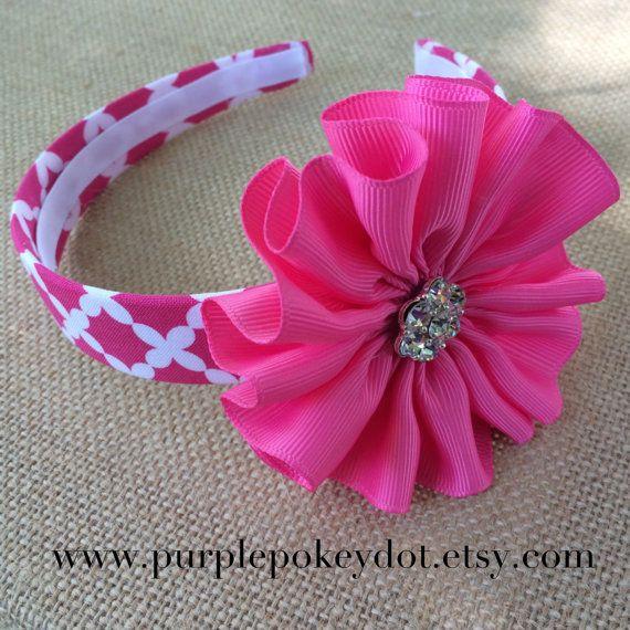 Pink and White Polka Fabric Headband with Pink Jumble
