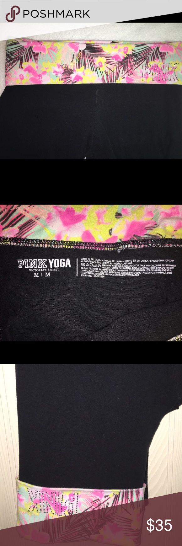 "Pink VS yoga leggings Excellent condition Pink VS leggings!  Tropical print slip over with blinged out ""pink"".  Throw these on, light the tiki torches, and sip on a fruity adult beverage in your back yard!  It's almost exactly like being in Hawaii!  🏝 included in the bundle but will sell separately. However check out the bundle for a great deal!! PINK Victoria's Secret Pants Leggings"