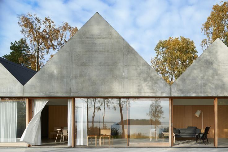 House Design Connected to Natural Landscape: Summerhouse Lagnö : Living Space Building Design Among Autumnal Themed Environment With Small Home Shaped Decoration Ideas With Glass Wall