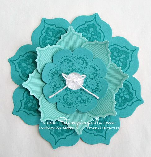 handcrafted layered flower ... Floral Framelits and  Mosaic Madness suites ... luv the combo of Bermuda Bay and Coastal Cabana ... Stampin' Up!