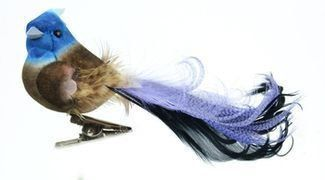Youll receive one fancy decorative BUE JAY with a feather tail mounted on a clip. This bird has a firm foam body and a tail that has been fashioned from feathers. The length of the bird, including the tail is APPROXIMATELY 4.5 inches. This artificial bird can be used for all sorts of