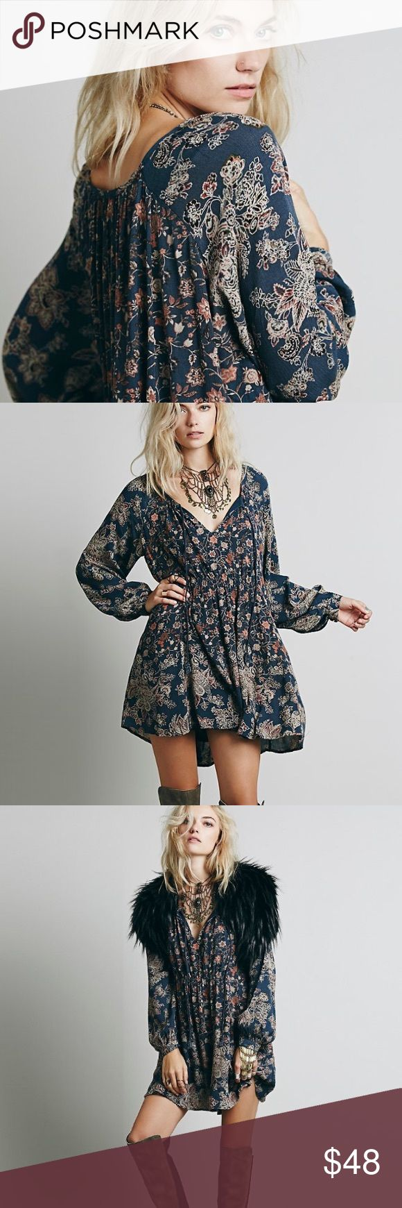 """Raglan Swing DRESS Floral Paisley Lucky Loosey BRAND NEW!! Plaited tassels sway from the neckline of a swing dress featuring raglan sleeves, a skirt defined by soft gathers, and an allover floral print. Lined. 100% Rayon. Color: Indigo Combo.   S: Bust: 46.5""""/Length: 32.3"""" M: Bust: 48.1""""/Length: 32.7"""" L: Bust: 49.6""""/Length: 33.1"""" XL: Bust: 51.2""""/Length: 33.5""""  🌟🌟Item is Brand New, direct from the Manufacturer, & Sealed in Pkg. 🌟🌟 Dresses"""