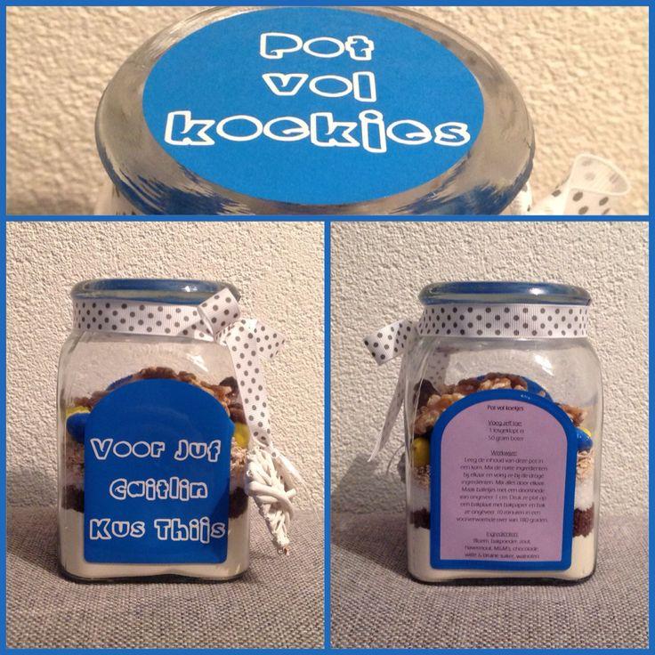 Pot vol koekjes!  #potvol #koekjes #diy #lief #traktatie #afscheid