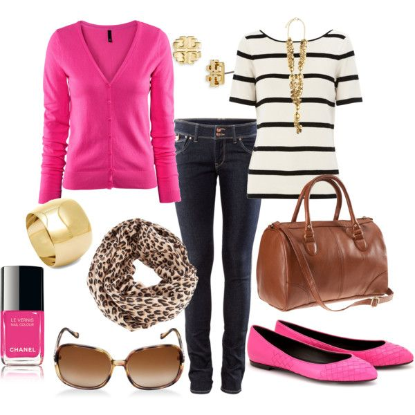 """pink+stripes+print+gold jewelry+skinny jeans+brown bag +big sunglasses= oh my gosh aim totally in love with this outfit!! i swear its like they read my mind and said """"ok we are now going to make this for olivia bess henthorn"""" !!!!!!!"""