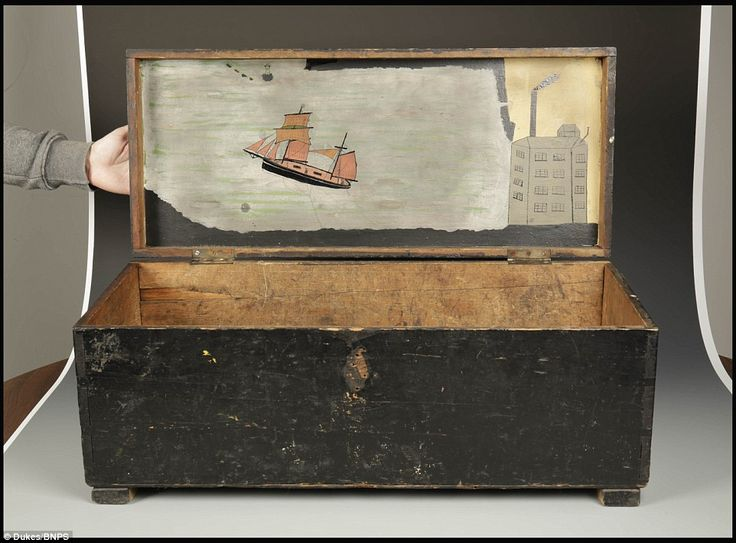 A painting of a brigantine leaving Hayle harbour  in a wooden chest is expected to sell for £40,000 when it is auctioned later this year