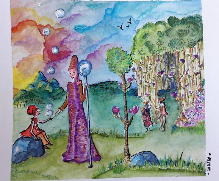 Le guide et l'enfant. Aquarelle à l'encre de Chine #Illustration #artwork #practice #magical #forest #painting #watercolorart #aquarell #instaart #artsy #guide #child #bubbles #sketch #tale #Schmincke #Derwent #fabercastell #pentel #pencils