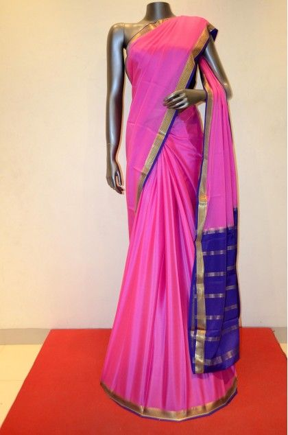 Traditional Pink Soft Mysore Silk Crepe Product Code: AB203401 Online Shopping; http://www.janardhanasilk.com/Saree-Collections/Mysore-Silk-Crepe-Saree?product_id=3595&limit=25