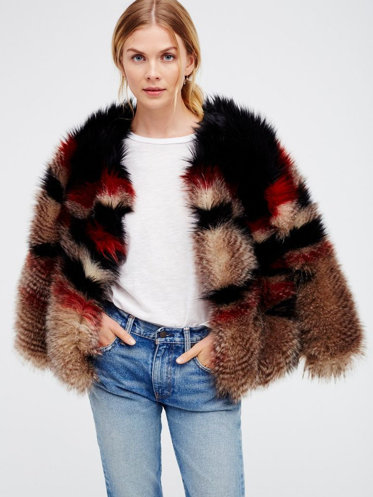 Scarlet Faux Fur Jacket | Cozy up in this gorgeous heavyweight faux fur jacket with an eye-catching multi-color design. Lined.