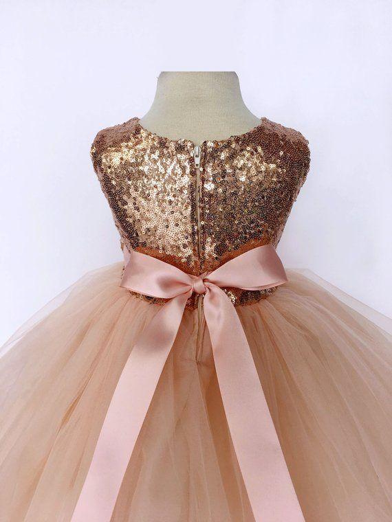 f3c669faa41 Rose Gold Sequin Tulle Bridesmaid Wedding Flower Girl Birthday ...