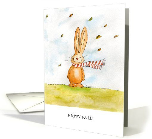 Happy Fall - Cute Autumn Greetings with Bunny in the wind card by Gerda Steiner