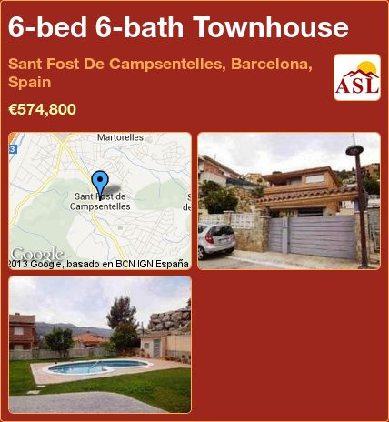 6-bed 6-bath Townhouse in Sant Fost De Campsentelles, Barcelona, Spain ►€574,800 #PropertyForSaleInSpain