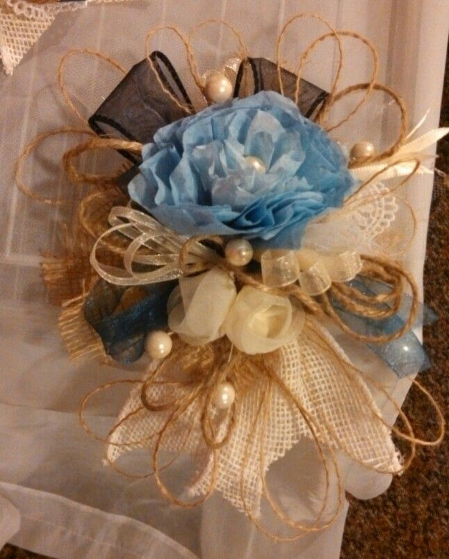 Rustic Junkie burlap corsage, By Coulter's Creations