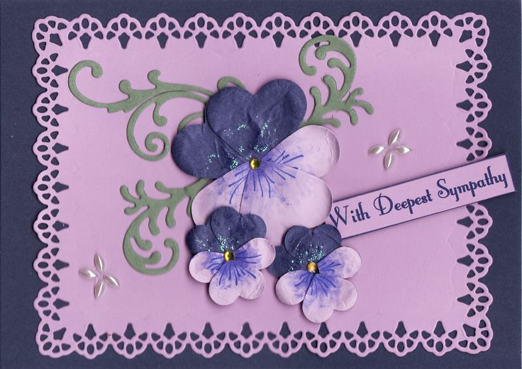 3D hand-made pansies 'With Deepest Sympathy' Card (by Tassie Scrapangel)