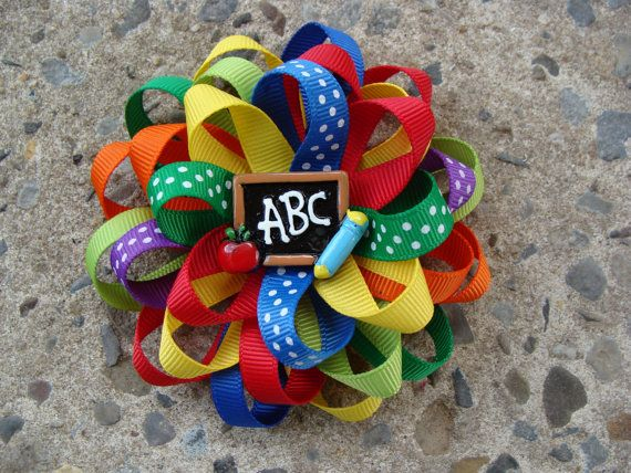 Hey, I found this really awesome Etsy listing at https://www.etsy.com/listing/199080729/school-hair-bow-round-hair-bow-go-back