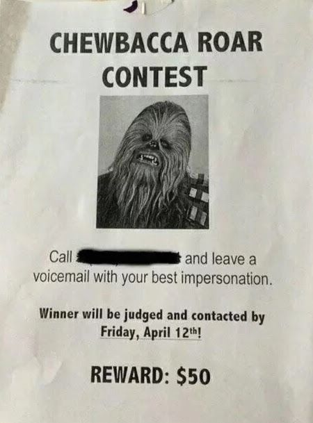 Chewbacca voice contest flyer.