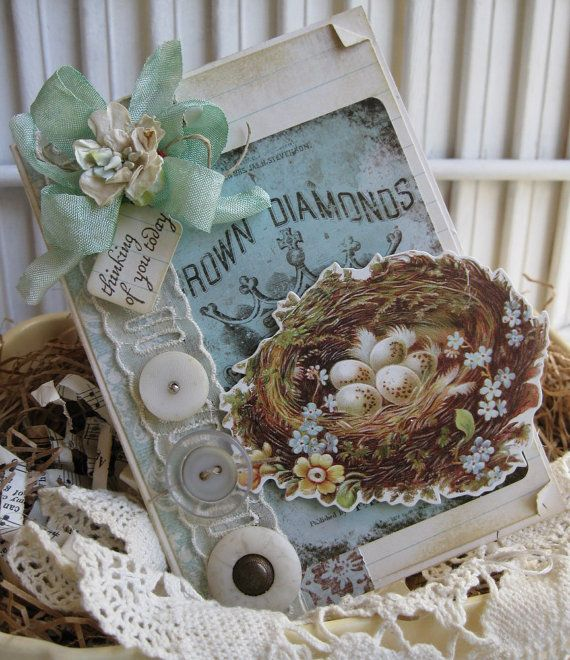 shabby chc nest THINKING OF YOU today handmade card