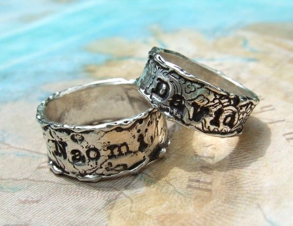 Custom Silver Engagement Rings Wedding Bands by HappyGoLicky, $155.00