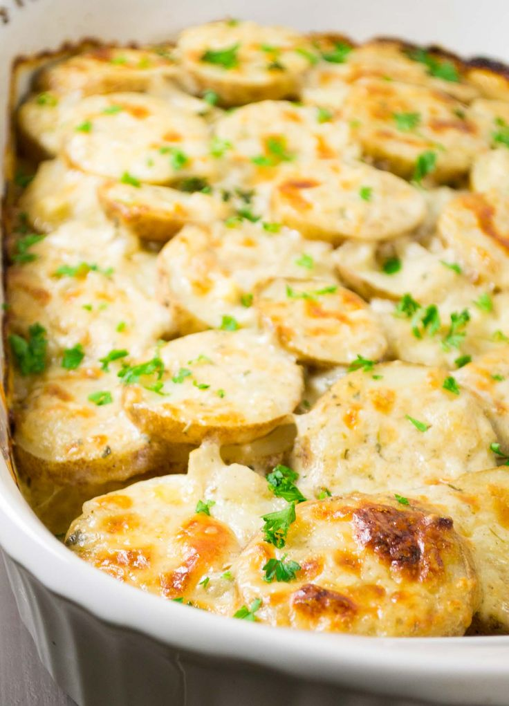 221 best meatless comfort foods casseroles images on pinterest a lightened up recipe for parmesan and white cheddar scalloped potatoes made using vegetable broth and milk in place of heavy cream forumfinder Image collections