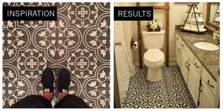 Can You Believe This Hand-Painted Bathroom Floor is Linoleum?