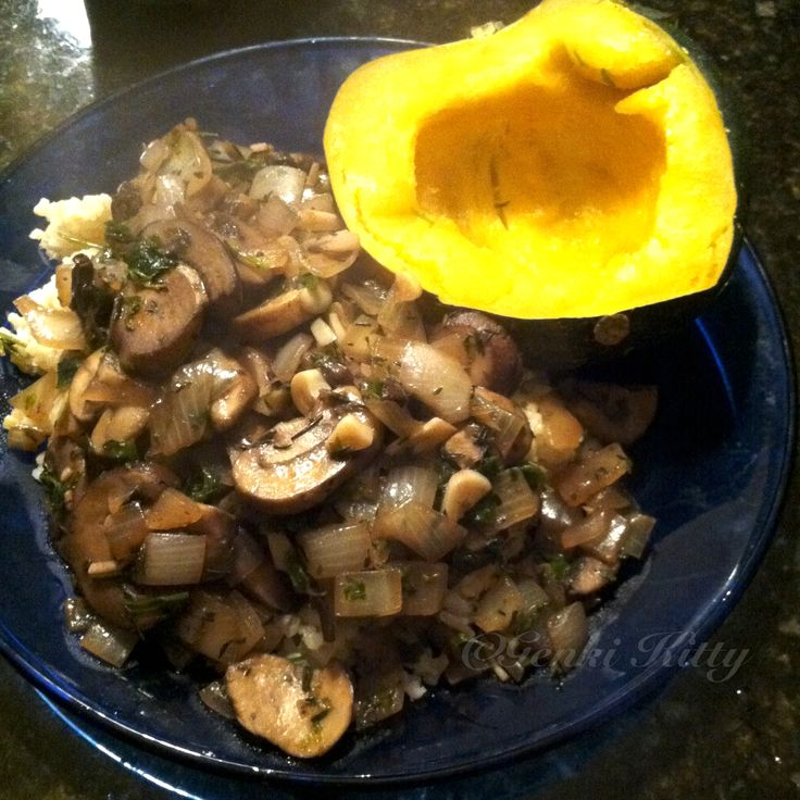 Mushroom Ragout over Steamed Japanese brown rice and 1/2 an acorn squash. #recipe #vegan #mushroom #ragout
