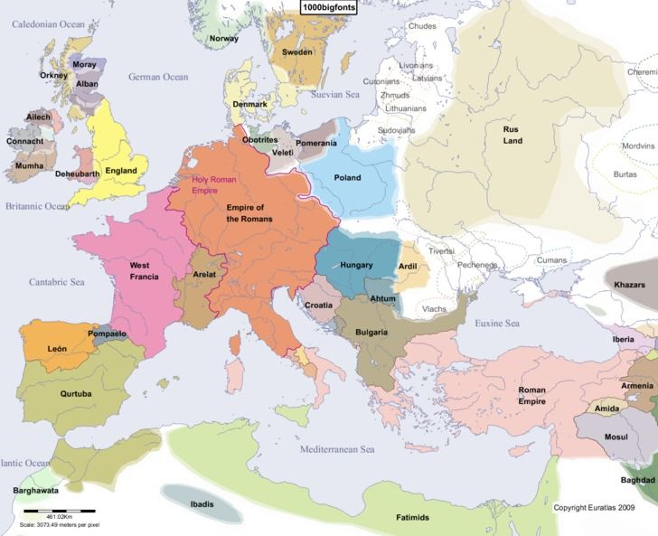 This is a Periodis,a historical atlas of a new kind, by Euratias.  The sovereign states of Europe are shown here at 1000 A.D., and you can click forward or backward every 100 years from 1 A.D. to 2000 A.D.
