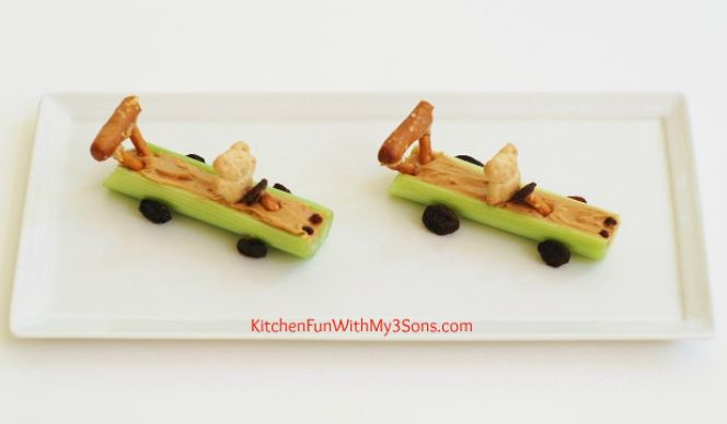 Need a fun new afternoon snack idea for your kids? Well, start your engine and shift into gear because these healthy and nutritious celery sticks are about to change your child's snacking game forever!  This quick and easy snack is perfect for picky eaters and peanut butter lovers alike! Check it out👇  Here's what you'll need: ● Celery ● Peanut Butter ● Pretzel Sticks ● Pretzel Dipping Sticks ● Raisins ● Teddy Grahams  For the full recipe, visit @KitchenFun3Sons:  #snack #recipe #easy