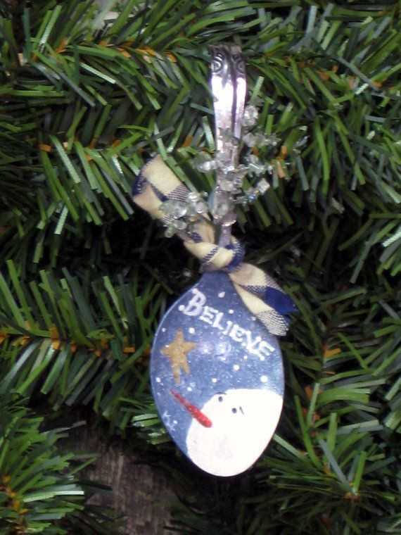 Handpainted spoon ornament with snowman by ...