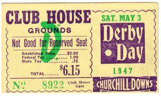 1947 Kentucky Derby ticket stub stub