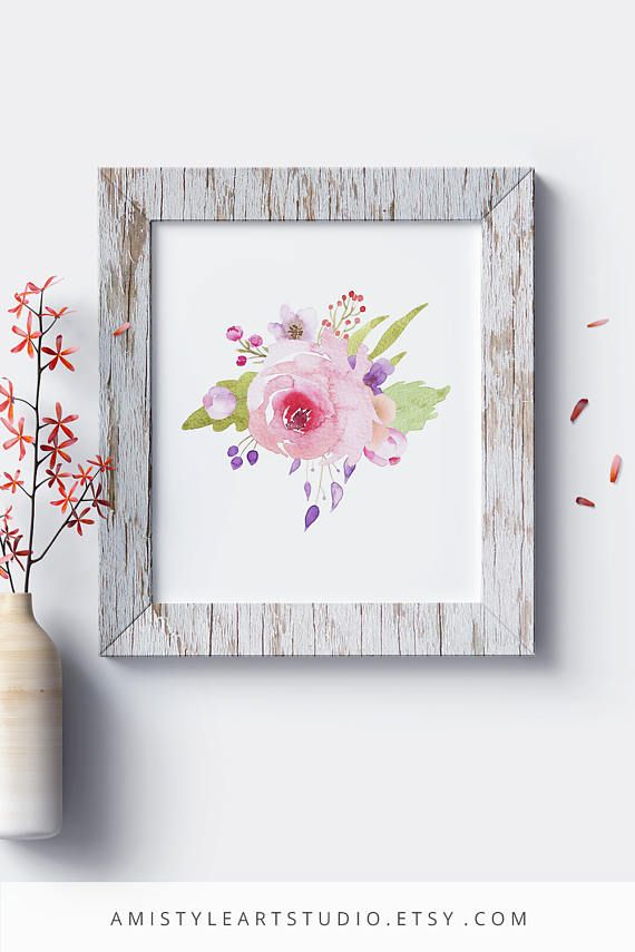 Wall Art Printable - with watercolor rose bouquet by Amistyle Art Studio on Etsy