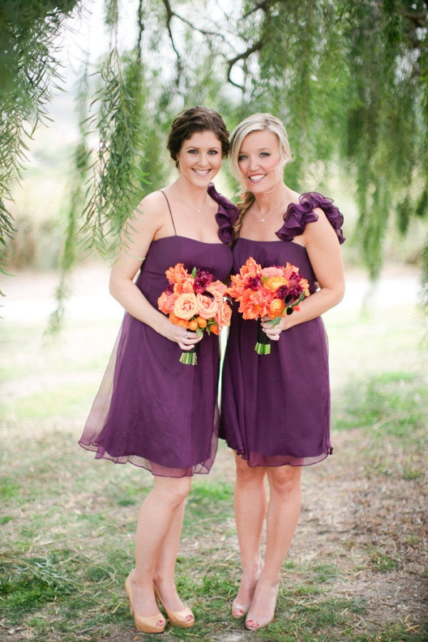 fall bridal party pictures%0A Purple maids and orange bouquets  Dresses by Alfred Sung  Photography by  troygrover com