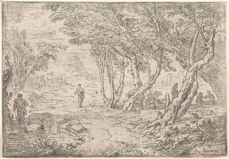Abraham Genoels | Bomen aan de oever van een meer, Abraham Genoels, 1650 - 1723 | Een landschap met bomen aan de oever van een meer. Enkele figuren zitten onder een rotswand. Op de achtergrond een stad.