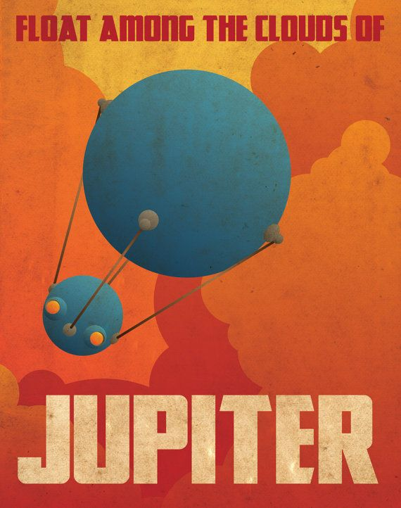 Jupiter Retro Planetary Travel Poster by Justonescarf on Etsy
