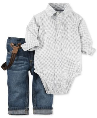 Big boy coolness perfectly designed for baby boy-Carters brings it all together with this three-piece set of a shirt-inspired bodysuit, jeans and suspenders. | Bodysuit, suspenders and pants: cotton