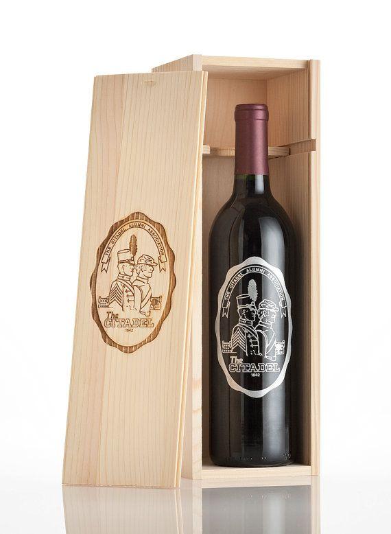 Custom Wine Box - Engraved Single Pine Wood Crate