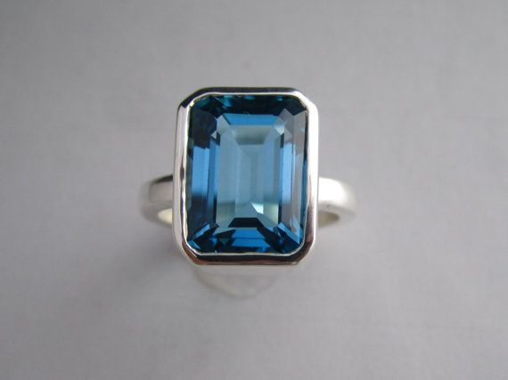 Sterling Silver London blue topaz ring octagon by TheresaPytell