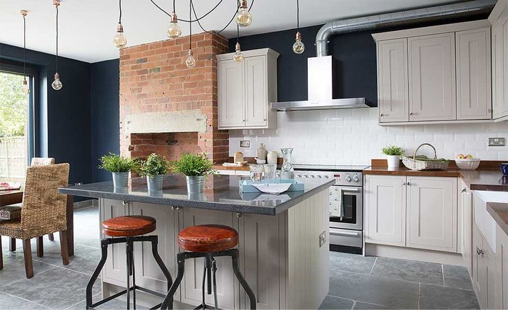 industrial style kitchen extractor fan and pendant lights