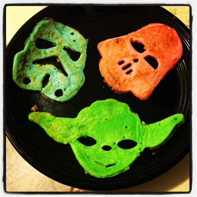 Star Wars pancakes!  William-Sinoma pancake molds and food coloring added to pancake batter!  My fiancé loved this!