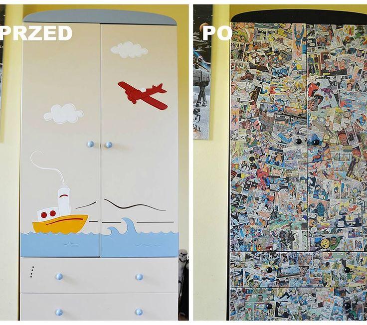 Metamorfoza szafy w komiksową #szafa #diy #zróbtosam #wnętrza #pokójdziecka