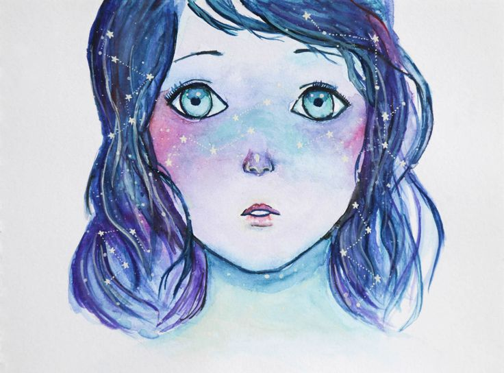 The galaxy in your eyes. #watercolour #galaxy #portrait  #women