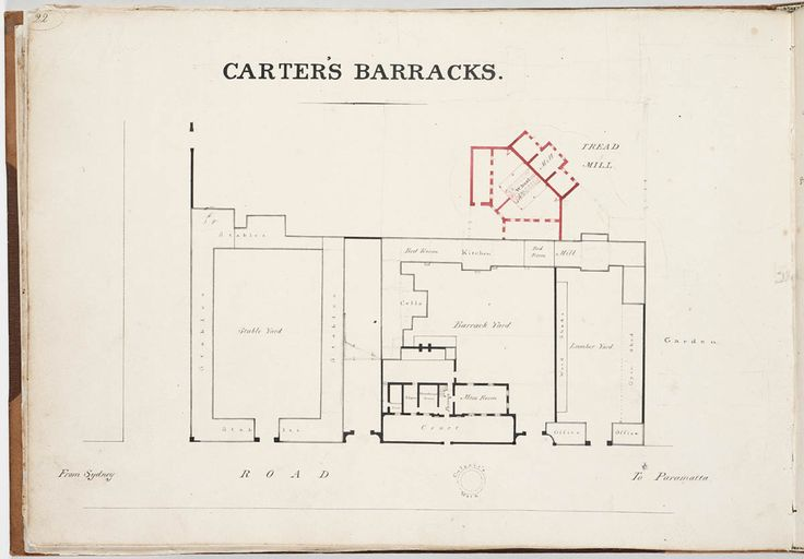 Plan of Carter's Barracks, Sydney. From Standish Harris, Report & Estimate of the Value of the Improvements which have taken place in the Public Buildings of Sydney, Paramatta, Windsor, Liverpool and Campbelltown, between the 25th of December 1822 & the 24th of December 1823 inclusive, and an Expose of the present state of the Public Buildings in New South Wales, 1824. Mitchell Library, State Library of New South Wales…